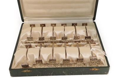 Lot 20 - A Cased Set of Twelve French Silver Plate Knife-Rests, each in the Art-Deco style, with angular...