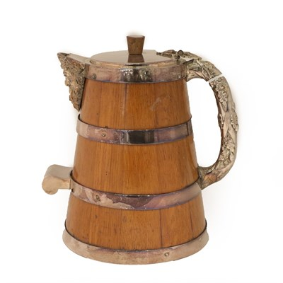 Lot 22 - A Silver Plate Mounted Oak Jug, Probably Second Half 19th Century, tapering and applied with silver
