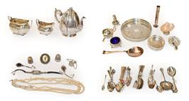 Lot 25 - A Collection of Silver and Silver Plate, the silver including: a silver-mounted shell dish, the...