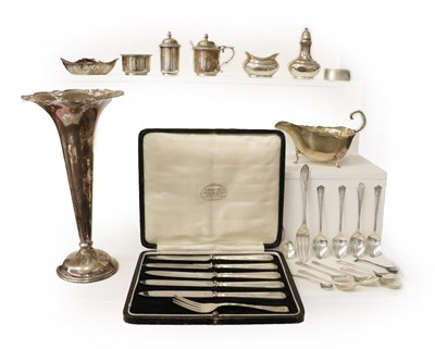 Lot 26 - A Collection of Assorted Silver, including: a trumpet shaped vase, filled; a sauce boat; an...