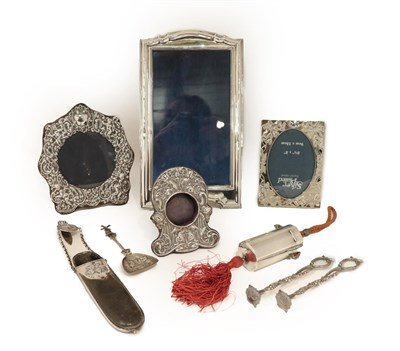 Lot 32 - A Collection of Silver and Silver Plate, the silver comprising: two photograph frames, one...