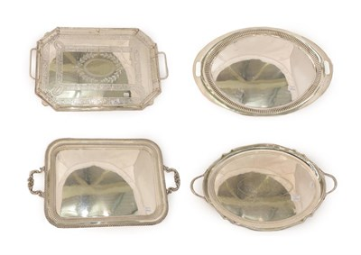 Lot 34 - Collection of Silver Plate Trays, oblong or oval, 70cm wide and smaller