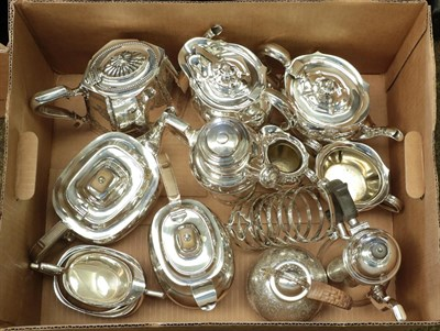 Lot 39 - A Collection of Assorted Silver Plate, comprising: a four-piece tea-service, by Atkin Brothers;...
