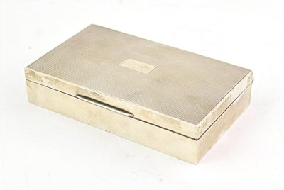 Lot 51 - A George VI Silver Cigarette-Box, by Harman Brothers, Birmingham, 1951, oblong, the hinged...