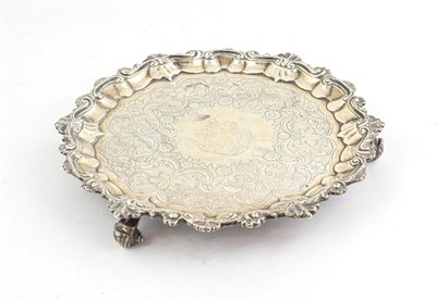Lot 57 - A George IV Silver Salver, by John Wakefield, London, 1824, shaped circular and on three...