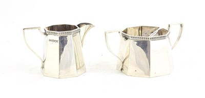 Lot 59 - A George V Silver Cream-Jug and Sugar-Bowl, by Walker and Hall, Sheffield, 1920, each tapering...