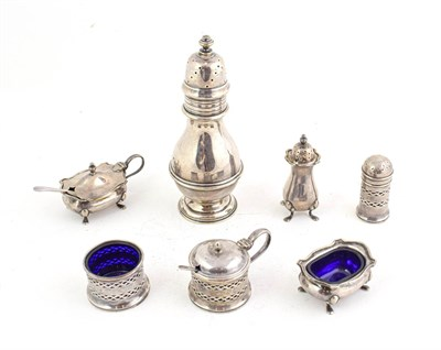Lot 67 - An Edward VII silver sugar caster, by Wakely and Wheeler, London, 1905, 16.5cm high; together...