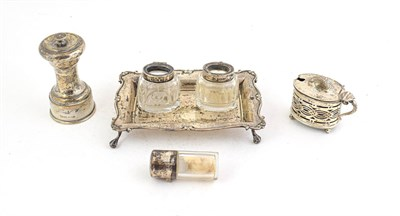 Lot 69 - A collection of silver, comprising: an inkstand, by William Aitken, Birmingham, 1903, the...