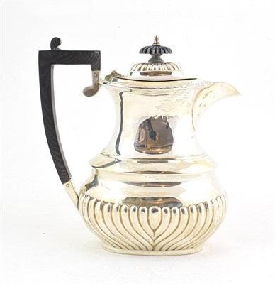 Lot 70 - An Edward VII Silver Hot-Water Jug, by S. Glass, Birmingham, 1908, baluster, the lower body...