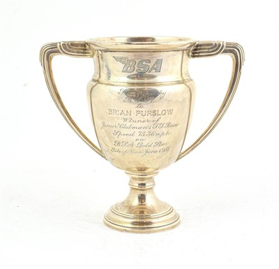 Lot 72 - An Elizabeth II Silver Trophy Cup, by F C Richards, Birmingham, 1954, tapering and on spreading...