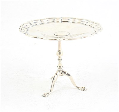 Lot 84 - An Edward VII Silver Miniature Table, by Roberts and Belk, Sheffield, 1909, modelled as a...