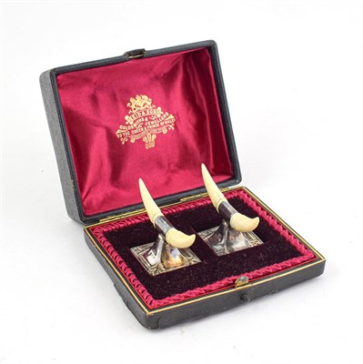 Lot 87 - A Cased Pair of Edward VII Silver and Ivory Knife-Rests, by Hilliard and Thomason, Birmingham,...