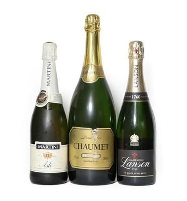 Lot 2003 - Lanson Black Label Champagne (one bottle), Chaumet Demi-Sec (one magnum), Martini Asti (one bottle)