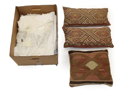 Lot 2000 - Assorted Textiles, comprising two damask table cloths, four others of tape work and drawn...