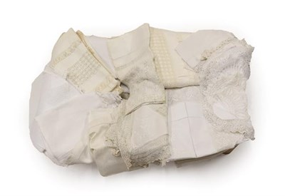Lot 2005 - Assorted White Linen and Cotton Tablecloths, to include bed linen, table linen, linen hand...