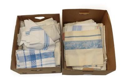 Lot 2006 - Assorted Linen Cloths, Table Linen, Cream Damask Table Cloths etc (two boxes)