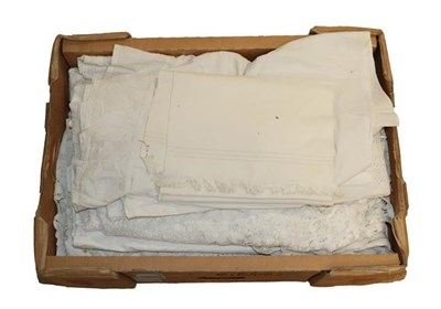 Lot 2007 - Box of Assorted White Linens and Textiles, comprising embroidered valance, table cloths and...