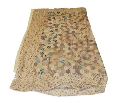 Lot 2010 - Mid 19th Century Bed Cover with Hexagonal Patches, comprising decorative printed cottons in...