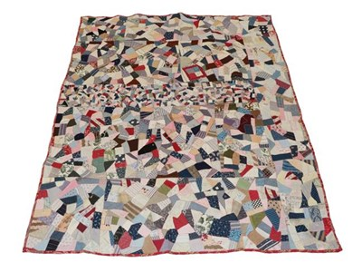 Lot 2013 - Victorian Crazy Patchwork, incorporating a central panel of tiny patches, using 19th century...