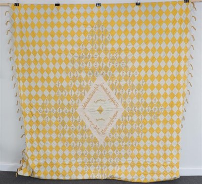 Lot 2017 - A Late 19th Century Decorative Signature Quilt, comprising yellow and white cotton diamond...
