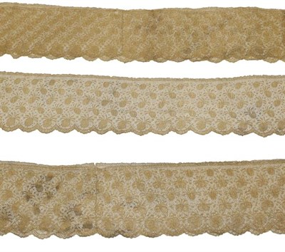 Lot 2019 - Late 19th Century Gilt Metal Lace Flounce, 208cm by 20cm and two other Matching Flounces, 416cm...