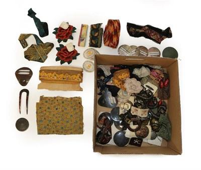 Lot 2020 - Assorted Circa 1900-1930 Costume Haberdashery, comprising silver metallic trims, three part...