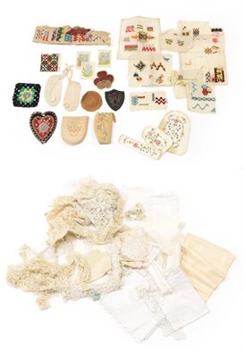 Lot 2022 - Assorted Early 20th Century Lace, including a Honiton collar and a pair of shaped cuffs, a...