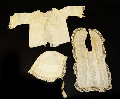 Lot 2028 - Early 19th Century White Cotton Lawn Baby Layette with Hollie Point Lace Insertions, comprising...