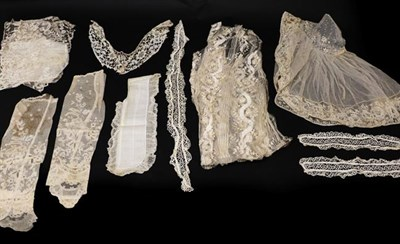 Lot 2031 - Assorted Early 20th Century Lace and Costume Accessories, comprising a bertha of needlepoint...