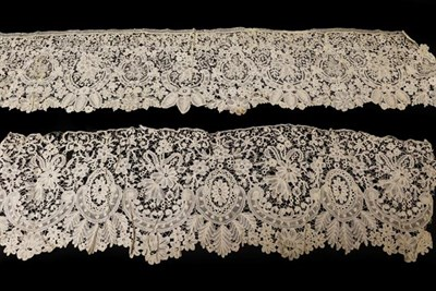 Lot 2032 - Late 19th Century Honiton Guipure Lace Flounce, 96cm by 25cm; Another Similar Flounce, 112cm by...