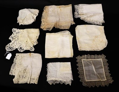 Lot 2033 - Nine Assorted White Cotton and Silk 19th Century and Later Handkerchiefs, with lace trims in...
