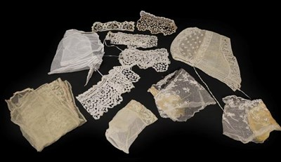 Lot 2034 - Assorted 19th Century and Later Lace Trimmed Costume Accessories, comprising a net cap with...