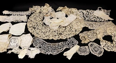 Lot 2036 - Late 19th and Early 20th Century Lace, comprising a bertha of tape lace applied floral lace;...