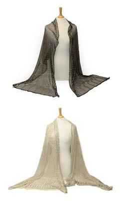 Lot 2038 - Circa 1920 Black Cotton Assuit Shawl, with geometric decoration size 73cm by 225cm; a Similar...