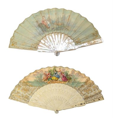 Lot 2039 - Late 19th/Early 20th Century Mother-of-Pearl Fan, painted with a scene of a shepherdess seated...