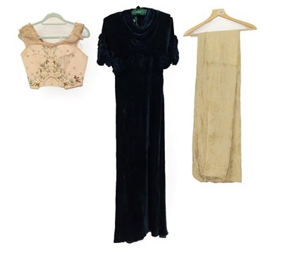 Lot 2046 - Circa 1930s Blue Velvet Evening Dress, sleeveless and full length with an attached 'shawl' with...