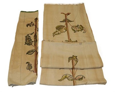 Lot 2047 - Three Early 20th Century Embroidered Panels, worked on cream linen ground with coloured wools,...