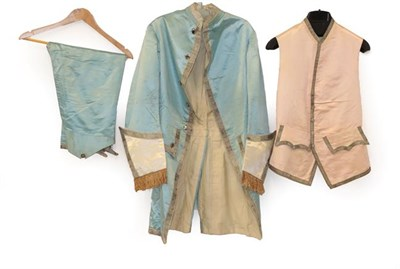 Lot 2055 - A 19th Century Gentleman's Pale Blue Silk Suit, in the 18th century style comprising a jacket...