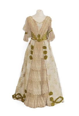 Lot 2056 - A 19th Century Wedding Costume, comprising a fitted bodice in a silk brocade woven with lily of the