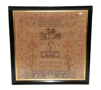 Lot 2057 - An Adam and Eve Sampler Worked by Mary Bunting aged 9 Years 1838 Hallam, flanked by a religious...
