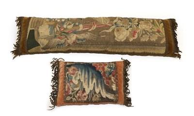Lot 2059 - 17th Century Panel of Floral Design, appliquéd onto a peach velvet cushion with bullion...