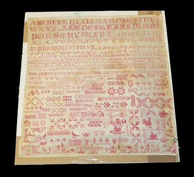 Lot 2060 - 19th Century Sampler in the Style of Ashley Down Orphanage Bristol, worked in the familiar red...