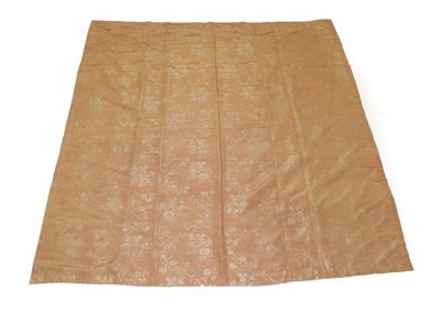 Lot 2061 - Circa 1760 Pieced Coverlet of Pink Silk Brocade, woven with scrolling flowers, later pale peach...