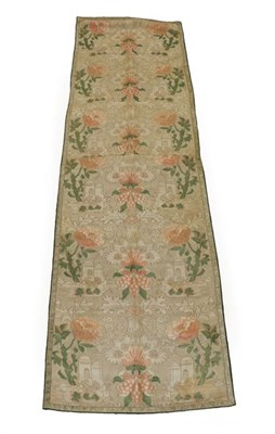 Lot 2062 - Circa 1700-10 Dutch Silk Brocatelle Panel, woven with a design of castles and oversized flowers...