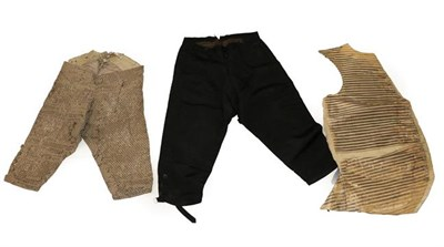 Lot 2063 - Gentlemen's 18th Century and Later Costume, comprising a pair of uncut velvet breeches woven...