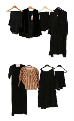Lot 2067 - Assorted Late 19th/Early 20th Century Ladies' Costume, including a checked silk two piece in brown