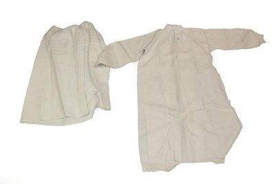 Lot 2068 - Late 19th Century Costume, comprising a coarse white cotton gentleman's shirt, buttons to the...