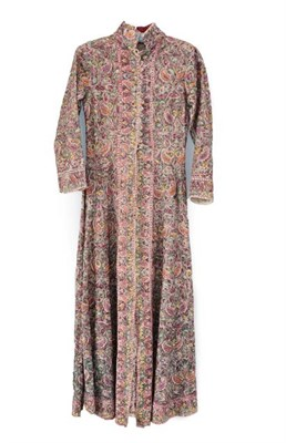 Lot 2069 - Circa 1940 Indian Embroidered Long Coat with nehru collar, long sleeves, multi buttons and...
