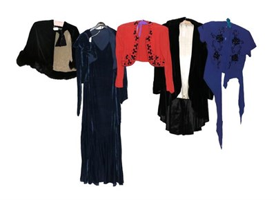 Lot 2070 - Early 20th Century Ladies' Clothing, including a blue velvet 1930s sleeveless long dress,  with...