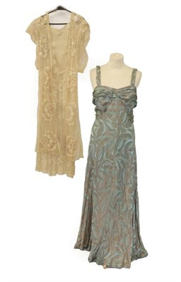 Lot 2071 - Early 20th Century Costume, comprising a lace dress with short sleeves, central panel to the front